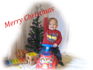 Baby J wishes a Merry Christmas to all.