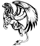A sketch of a gryphon in black