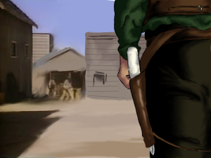 Story opening Image - Jonas' hip with knife attached