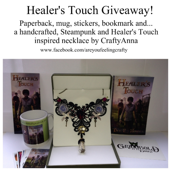 Healer's Touch Swag: Coffee mug, bookmarks, book, necklace